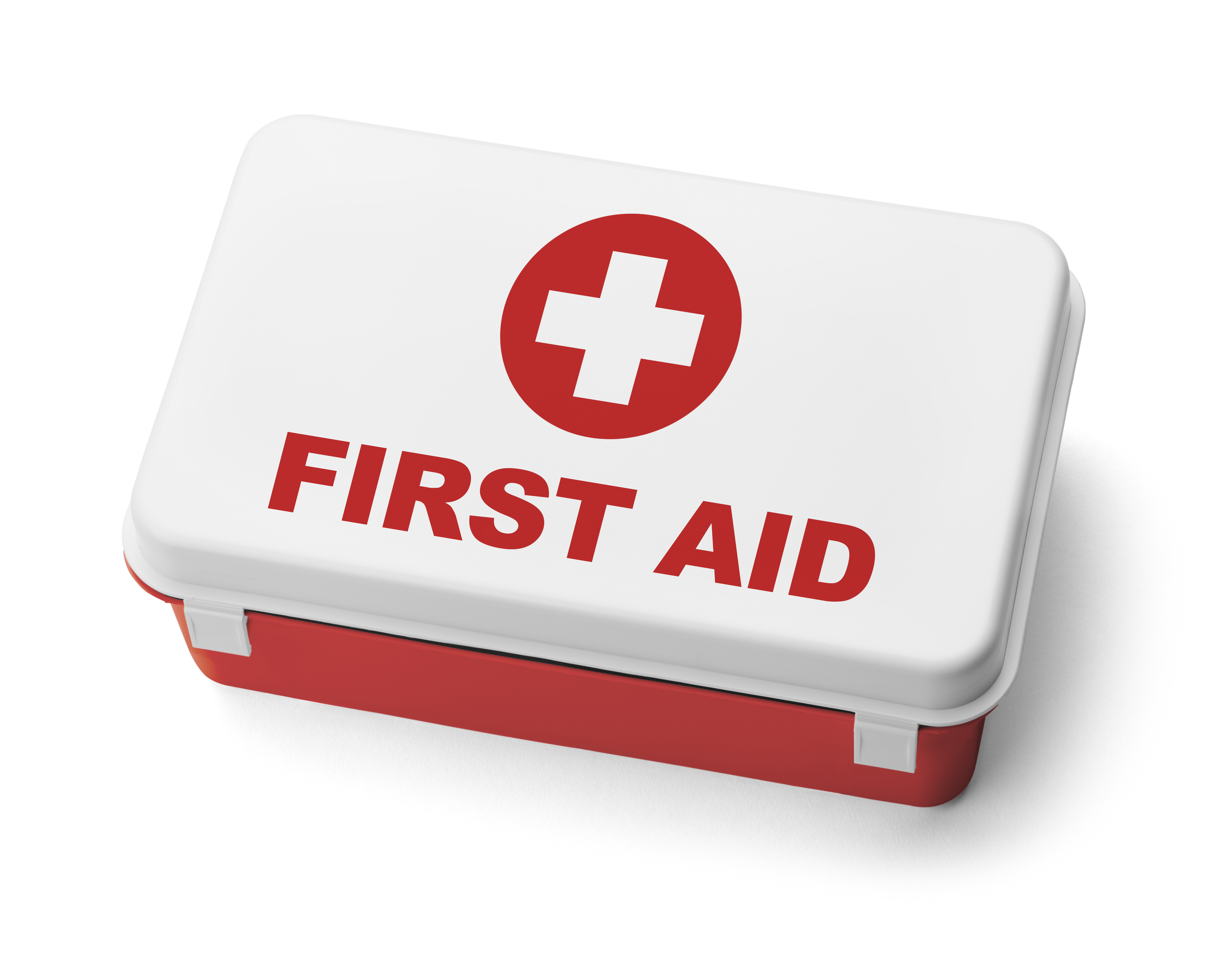 Red Plastic First Aid Kit Box Isolated on White Background.